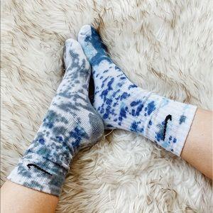 Nike Tie-Dye Socks Multicolor Blue + Gray